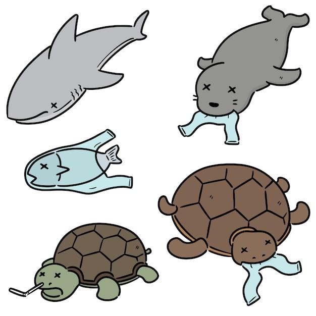 水生動物とプラスチックのセット Premiumベクター