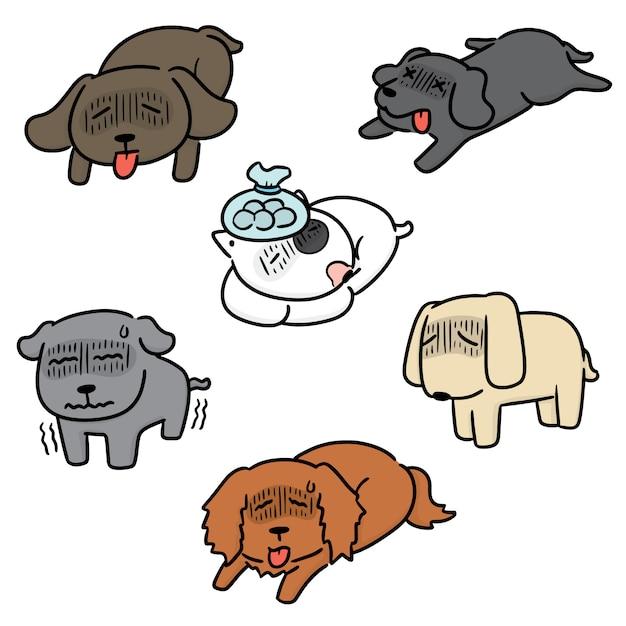 病気の犬のセット Premiumベクター