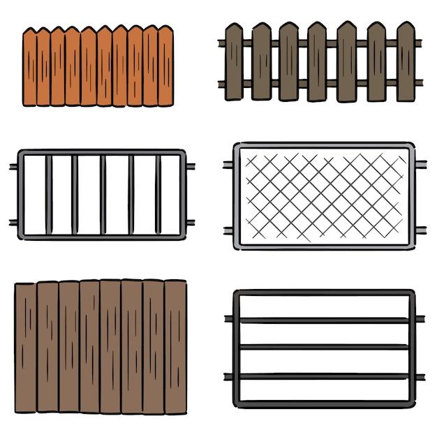 フェンスのベクトルを設定 Premiumベクター