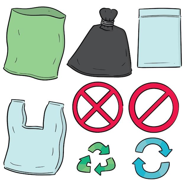Векторный набор пластиковых пакетов и значок корзины Premium векторы