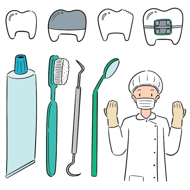 歯科医と歯科用機器のセット Premiumベクター
