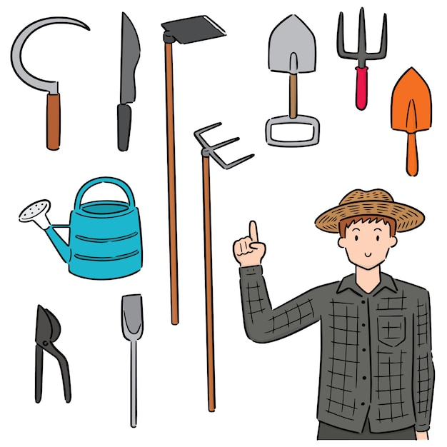 庭師と園芸機器のセット Premiumベクター