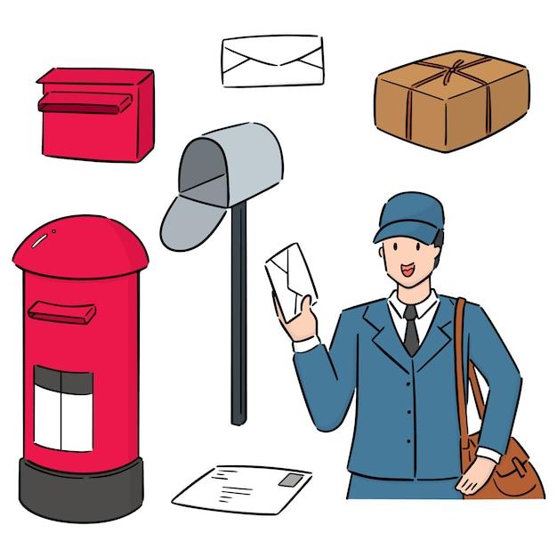 郵便配達員と郵便ポストのセット Premiumベクター