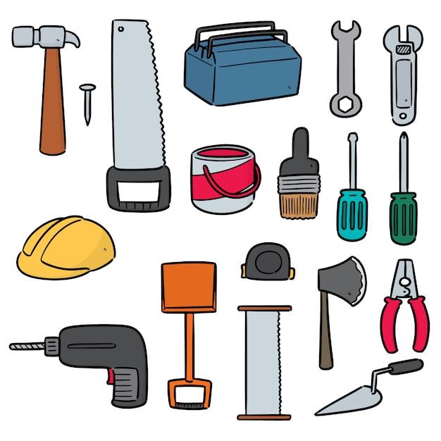 Набор строительных инструментов Premium векторы