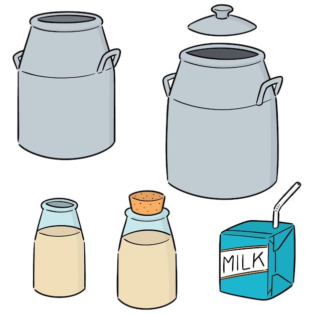 ミルク缶、ボトル、ミルクボックスのベクトルセット Premiumベクター