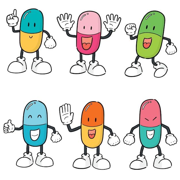 薬のカプセル漫画のベクトルセット Premiumベクター