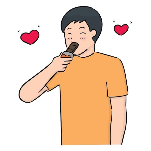 チョコレートを食べる人のベクトル Premiumベクター