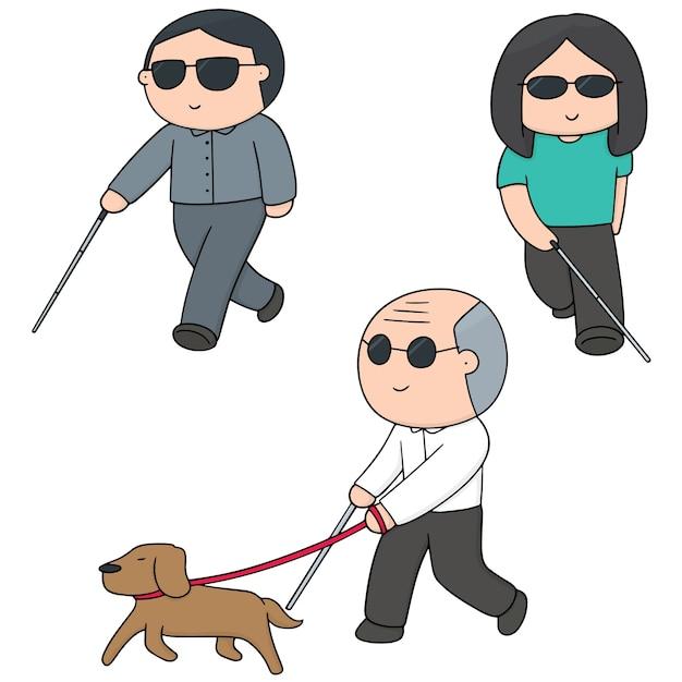 盲人のベクトルセット Premiumベクター