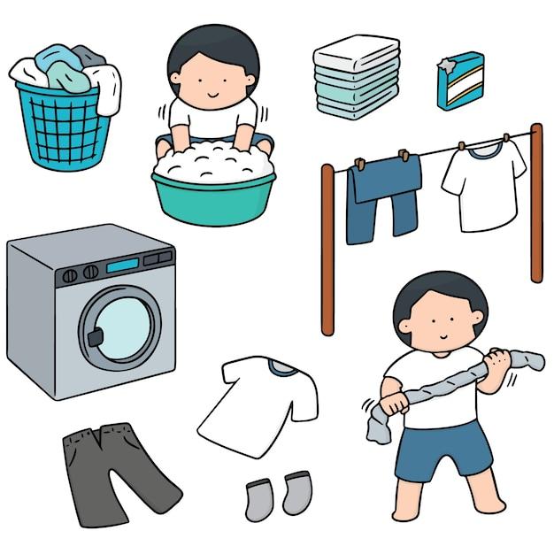 洗濯する人のセット Premiumベクター