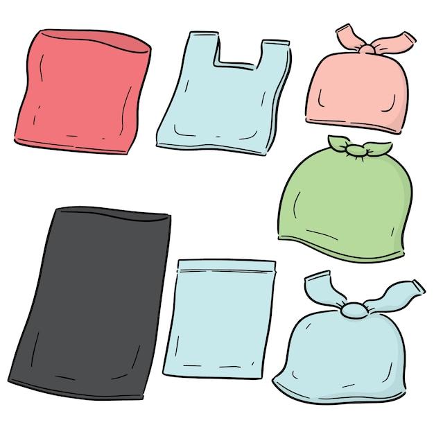 Векторный набор пластиковых пакетов Premium векторы