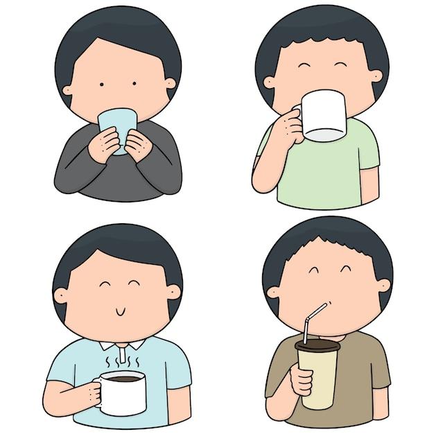 Векторный набор людей, пить Premium векторы