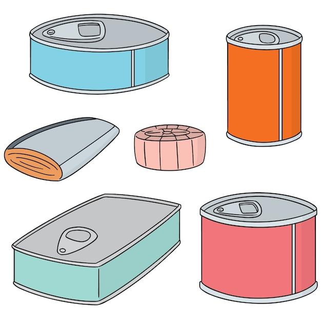 缶詰の魚のベクトルセット Premiumベクター