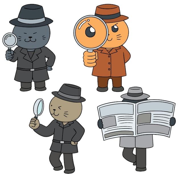 猫探偵のベクトルセット Premiumベクター