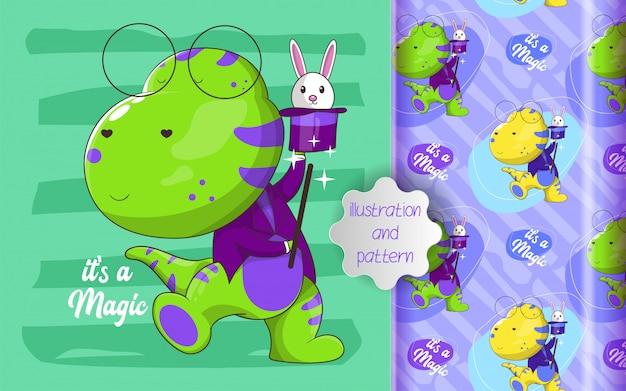かわいい恐竜の魔術師とパターンのイラスト Premiumベクター