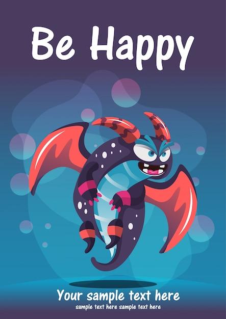 かわいいモンスターは幸せなグリーティングカードになります。 Premiumベクター
