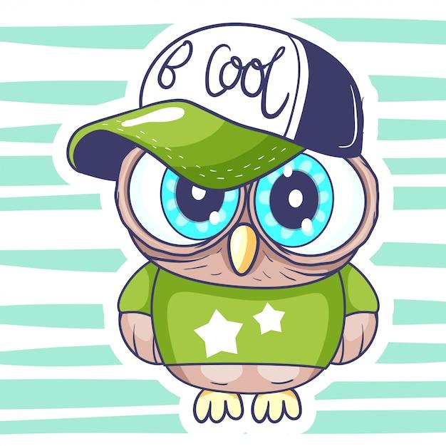 Милая маленькая сова мультфильм. Premium векторы