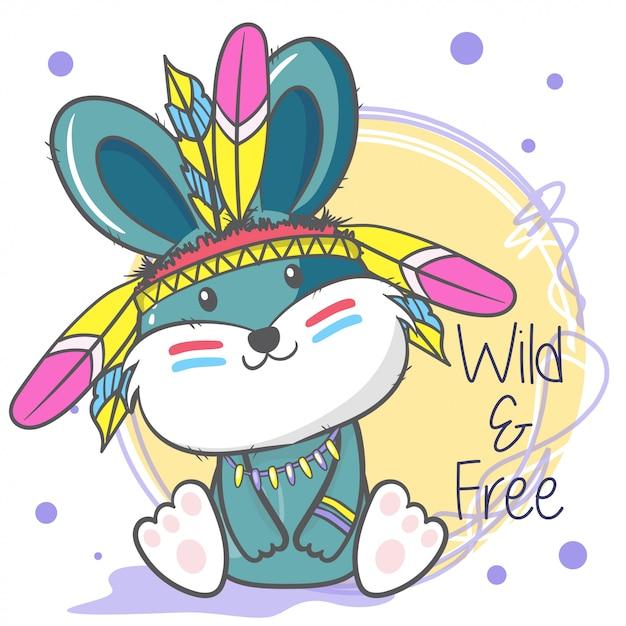Милый мультфильм кролик с перьями Premium векторы