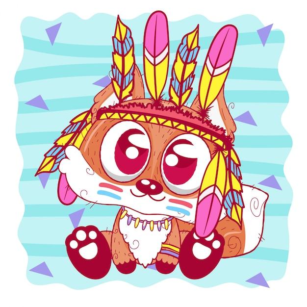 Милый мультфильм племенной лис с перьями Premium векторы