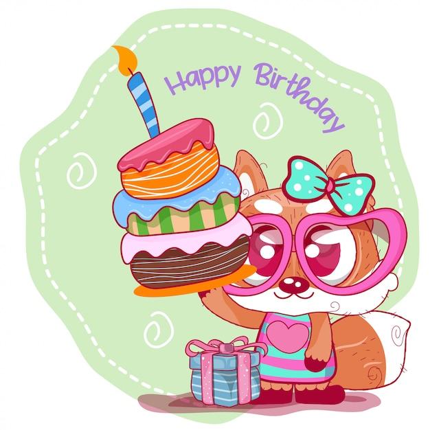 かわいいキツネとグリーティングの誕生日カード Premiumベクター