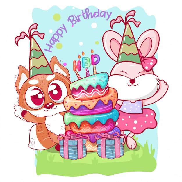かわいいウサギとキツネの誕生日カード Premiumベクター