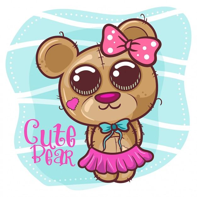 Симпатичная девушка-медведь - вектор Premium векторы