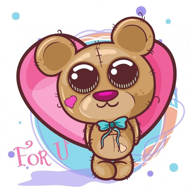 Симпатичный медведь с сердечками - иллюстрация Premium векторы