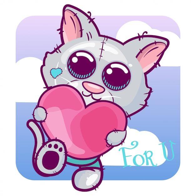 Мультфильм милый котенок с сердцем Premium векторы