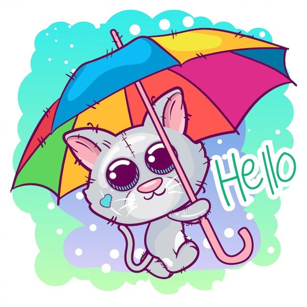 かわいい子猫漫画、傘を Premiumベクター