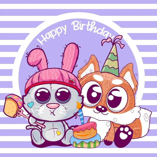 かわいい子猫とキツネの誕生日グリーティングカード Premiumベクター