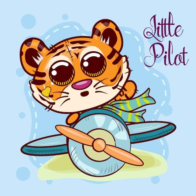 Милый мультфильм тигра с самолета. вектор Premium векторы