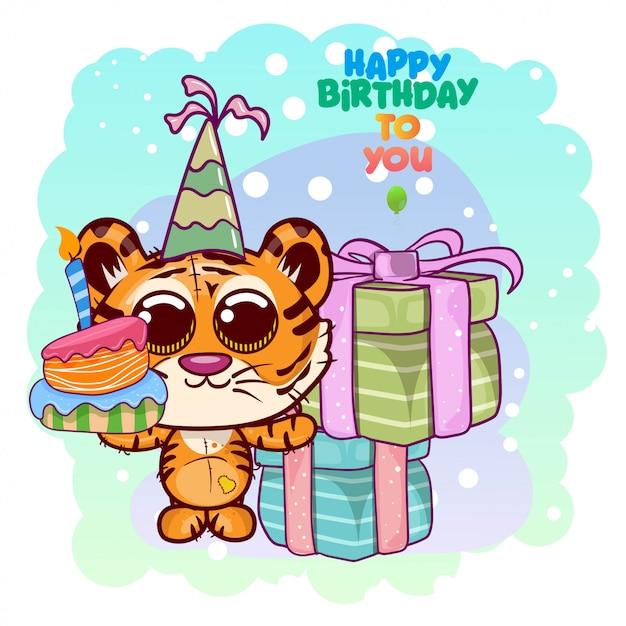 かわいい虎とグリーティングの誕生日カード - イラスト Premiumベクター