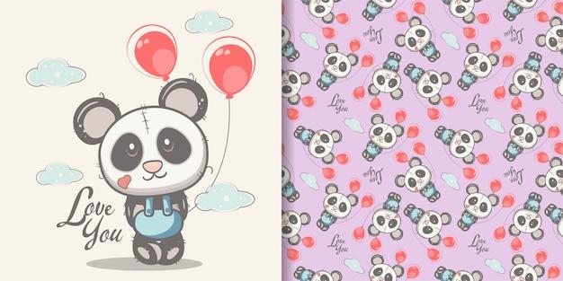 シームレスパターンセットで描かれたかわいいパンダを手します。 Premiumベクター