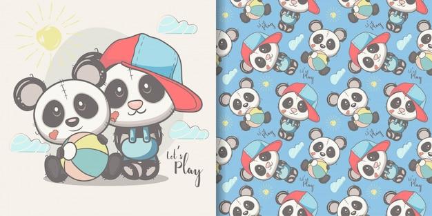 Открытка милый мультфильм панда с бесшовный фон Premium векторы