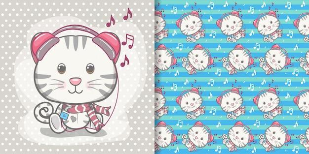 かわいい赤ちゃん子猫グリーティングカード、パターンセット Premiumベクター