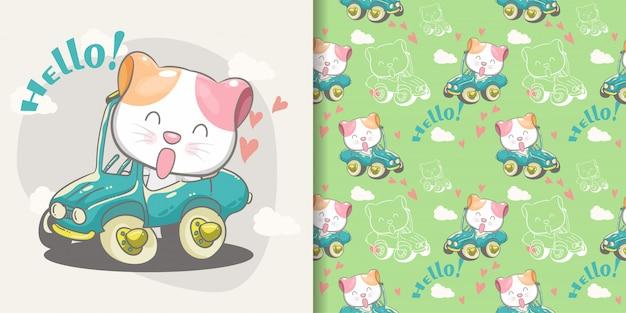緑の車のシームレスなパターンとイラストカードのかわいい猫 Premiumベクター