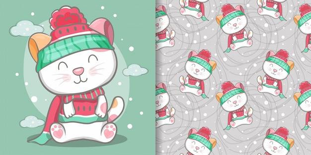 かわいい猫のシームレスなパターンとイラストカード Premiumベクター