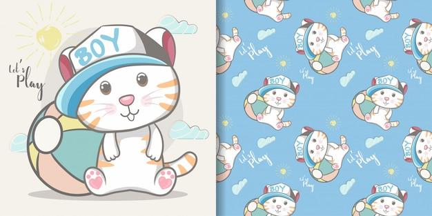 かわいい赤ちゃん猫男の子のシームレスなパターンとイラストカード Premiumベクター