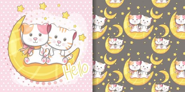 手描きかわいい猫のシームレスなパターンとイラストカード Premiumベクター