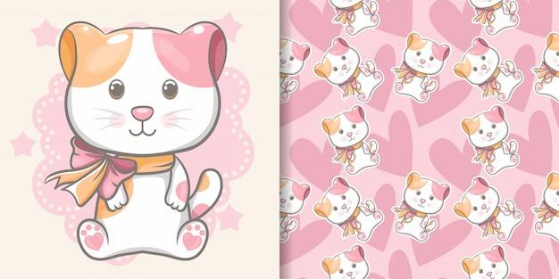 シームレスパターンを持つかわいい赤ちゃん子猫 Premiumベクター