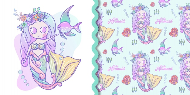 Мультяшная милая русалка и морская жизнь Premium векторы