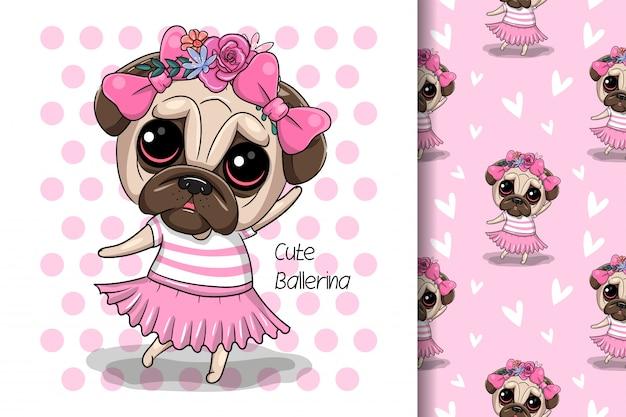 ピンクの背景に花模様のグリーティングカード子犬の女の子 Premiumベクター