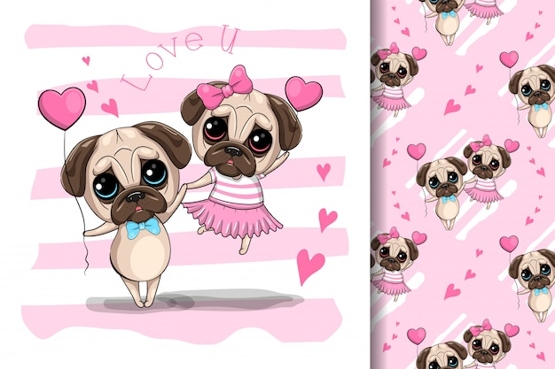 Симпатичные карикатуры мопс собака пара, векторная иллюстрация Premium векторы