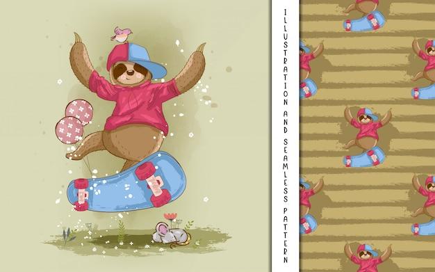 Симпатичные рисованной мультфильм ленивец с скейтборд. принт, детский душ Premium векторы