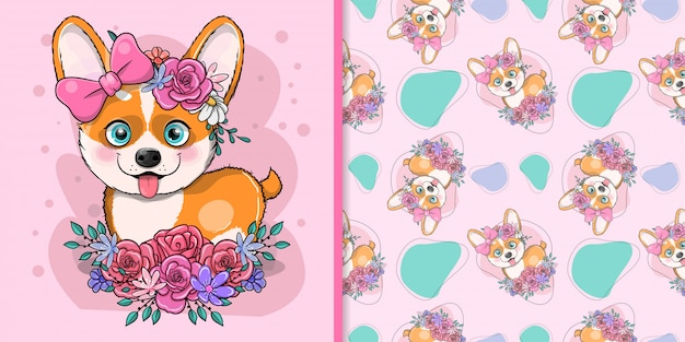 花とかわいい漫画犬コーギー Premiumベクター