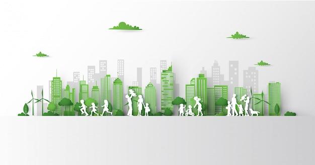 Концепция зеленого города с зданием на земле. Premium векторы