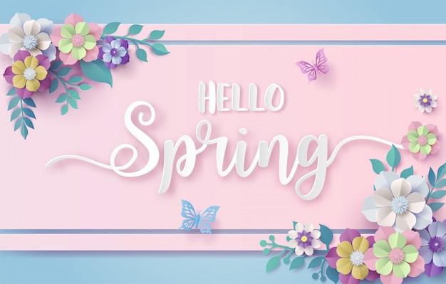 花と葉のフレームと春の季節。 Premiumベクター