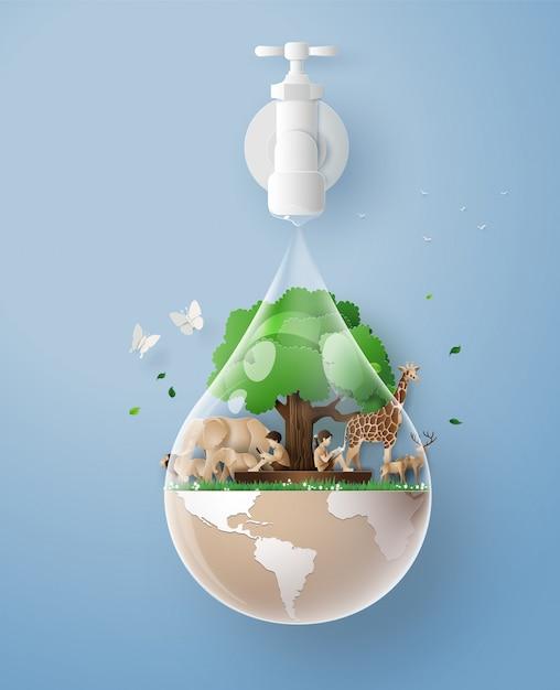 エコとウォルド水の日の概念 Premiumベクター