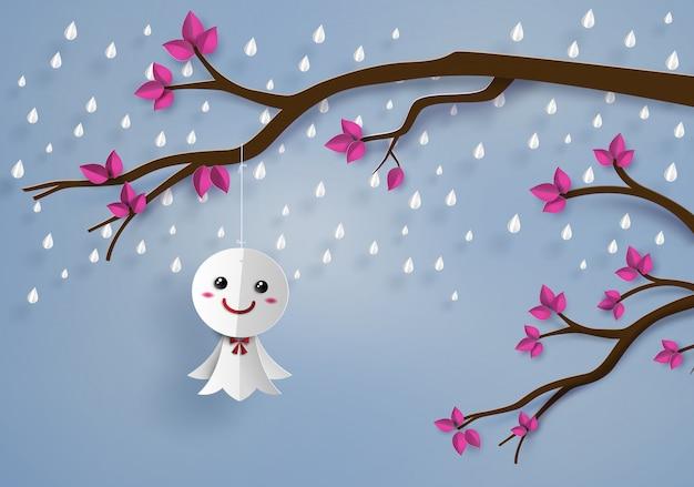 Японская бумажная кукла против дождя Premium векторы