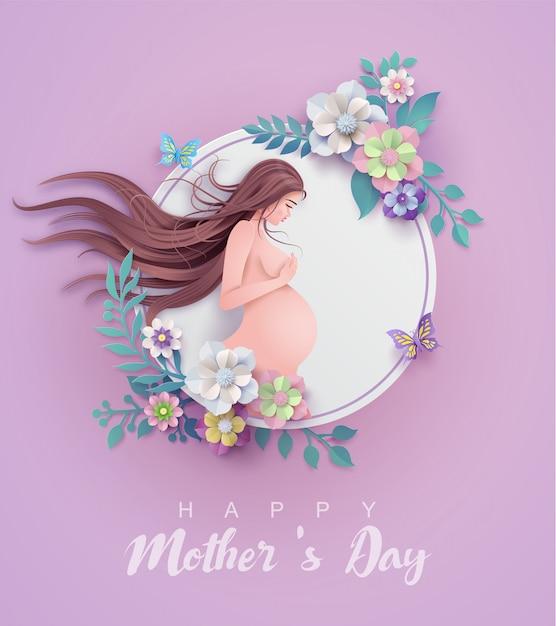 幸せな母の日グリーティングカード。 Premiumベクター