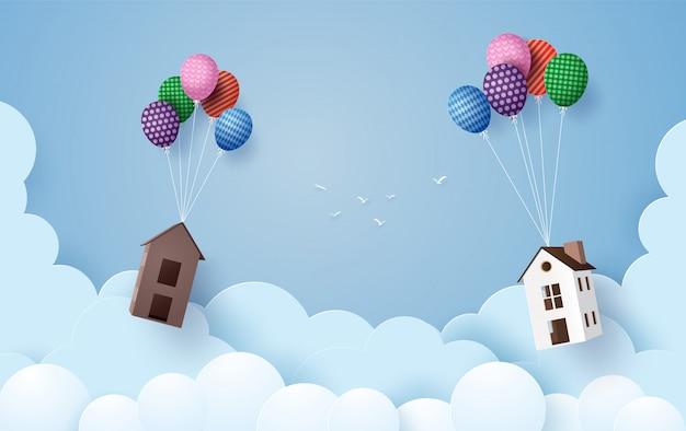 Бизнес концепции бумаги дома висит с разноцветными шарами, Premium векторы
